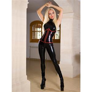Sexy Catsuit for Women, Cheap Black Bodycon Jumpsuit, Gothic Punk Bodysuit, Faux Leather Catsuit, PVC Wetlook Catsuit, #N14167