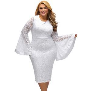 Bodycon Dresses, White Midi Dresses, Round Neck White Dresses, Flare Long Sleeve Dresses, Sexy Dresses, #N14459