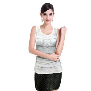 Sexy White Vest Tops, Beading Top Vest, Cheap Sleeveless T-shirt, Women