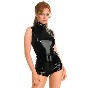 Sexy Catsuit for Women, Cheap Black Bodycon Jumpsuit, Gothic Punk Bodysuit, Faux Leather Catsuit, PVC Wetlook Catsuit, Short Catsuit, #N14168