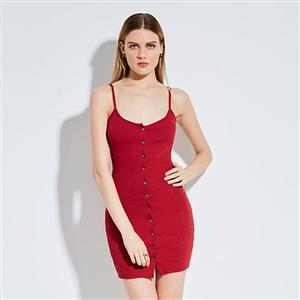 Bodycon Dresses for Women, Sexy Mini Dresses, Button Up Dress, Cheap Dress for Women, Fashion Dress for Women, Sweetheart Neckline Dress, #N14286