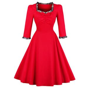 3/4 Length Sleeve, Vintage Red Dress for Women, Fashion Dresses for Women Cocktail Party, Casual Swing Dress, Square Neck Swing Dress, #N14536