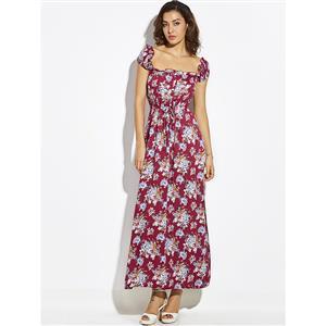 Sexy Dress for Women, Maxi Dresses, Cap Sleeve Dress for Women, Square Neck Maxi Dress, Floral Print Party Dress, Women Daily Dress, #N14879