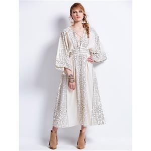 Sexy Dress for Women, Maxi Dresses, Long Sleeve Dress for Women, V Neck Maxi Dress, Floral Print Party Dress , Women Daily Dress, #N14407