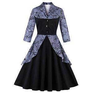 3/4 Length Sleeve, Vintage Dress for Women, Fashion Dresses for Women Cocktail Party, Casual Swing Dress, Collared  Swing Dress, 50s Vintage Dresses, #N14728