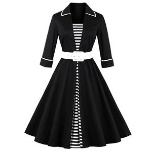 3/4 Length Sleeve, Vintage Dress for Women, Fashion Dresses for Women Cocktail Party, Casual Swing Dress, Collared  Swing Dress, 50s Vintage Dresses, #N14727