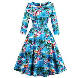 3/4 Length Sleeve, Vintage Dress for Women, Fashion Dresses for Women Cocktail Party, Casual Swing Dress, Round Neck Swing Dress, 50s Vintage Dresses, #N14725