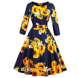 3/4 Length Sleeve, Vintage Dress for Women, Fashion Dresses for Women Cocktail Party, Casual Swing Dress, Round Neck Swing Dress, 50s Vintage Dresses, #N14726