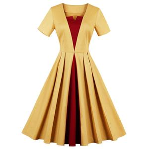Vintage Dress for Women, Fashion Dresses for Women Cocktail Party, Casual Swing Dress, Short Sleeve Swing Dress, 50s Vintage Dresses, #N14729