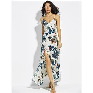 Sexy Dress for Women, Maxi Dresses, Sleeveless Dress for Women, V Neck Maxi Dress, Floral Print Party Dress, Women Daily Dress, #N14653