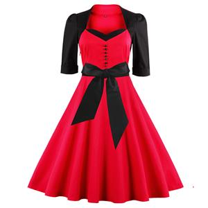 Vintage Retro Patchwork Cocktail Party Swing Dress N12438