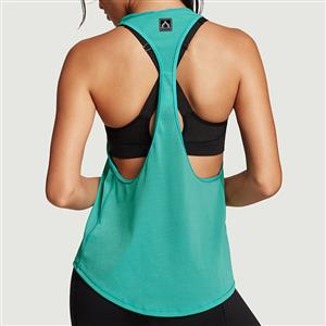 Green Tank Top, Fitness and Yoga Tank Top, Cheap Outside Sports Shirts, Gymnastics Tank Tops, Women