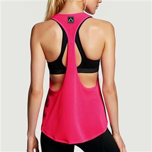 Hot-Pink Tank Top, Fitness and Yoga Tank Top, Cheap Outside Sports Shirts, Gymnastics Tank Tops, Women