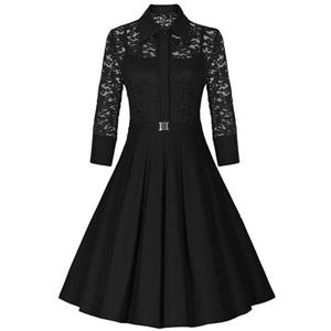 Sexy Vintage 1950s Style 3/4 Sleeve Black Lace Flare A-line Dress N12126