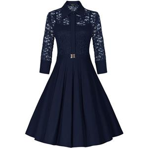 Sexy Vintage 1950s Style 3/4 Sleeve Blue Lace Flare A-line Dress N12130