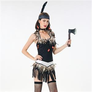 Wild Sexy Women Costume, Sexy Halloween Party Dress, Exotic Costumes, Sexy Tribal Chieftain Womens Costume, #N17944