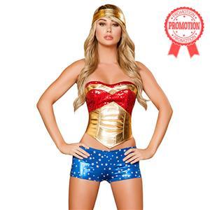 Wonder Heroine Costume, Wonder Woman Corset Costume, Female Comic Book Costume, #N6187
