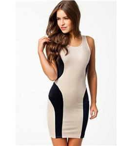 Apricot and Black Round Neck Dress, Colour Block Cut Out Back Dress, Sleeveless Cross Back Bodycon Dress, #N8901