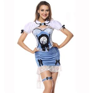Alice In Wonderful Land Costume, Wonderful Land Alice Costume, Alice Costume, Blue-white Alice Narrow Dress,  Alice In Wonderland Costume Set, Elegant Fairy Tale Costume Set#N5846