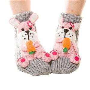 3D Cartoon Animal Woolen Knitted Socks, Household Socks, Comfortable Socks, Christmas Socks, #HG12116
