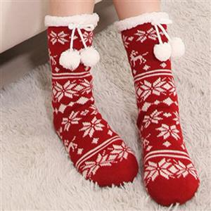 Christmas Woolen Knitted Socks, Household Socks, Comfortable Socks, Thick Stockings, Winter Socks, Slipper Socks, #HG12120