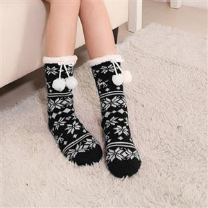 Christmas Woolen Knitted Socks, Household Socks, Comfortable Socks, Thick Stockings, Winter Socks, Slipper Socks, #HG12150