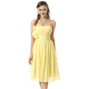 Yellow Chiffon Prom Dresses, Cheap Homecoming Dresses, Hot Sale Graduation Dresses, Girls Short Dress, #F30059