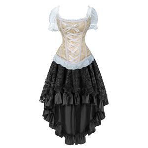 Burlesque Dancing Corset Skirt Set, Women