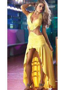 Long Cut Out Gown, Yellow Gown, Long Gown, #GW1725