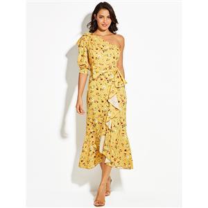 Half Sleeve Maxi Dress, Oblique Collar Maxi Dress, One Shoulder Yellow Maxi Dress, Floral Print Maxi Dress, Fashion Maxi Dress for Women, Yellow Maxi Dress, #N15684