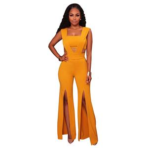 Sexy Sleeveless Strapless Jumpsuit, Yellow Slim Fit Bellbottoms Jumpsuit, Bodycon Split Jumpsuit, Sleeveless High Waist Jumpsuit, Fashion Bandeau Patchwork Jumpsuit for Women, #N16309