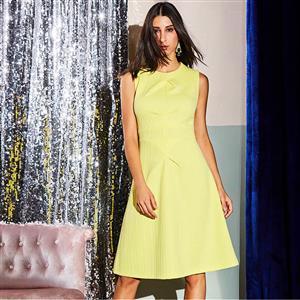 Sleeveless Dress, Round Neck Dress, Midi Dress, A-Line Dress, Elegant Dresses for Women, Solid Color Dresses, Back Zipper Dress, Casual Dresses for Women, #N15587