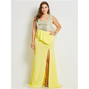 Sleeveless Maxi Dresses for Women, Square Neck Maxi Dress, Plus Size Maxi Dress, Sequin Patchwork Maxi Dress, Slim Fit Maxi Dress, Sleeveless Plus Size Maxi Dresses, #N15785