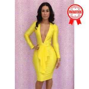 Yellow Long Sleeve Dress, Deep V-Neck Bandage Dress,Hollow Back Bodycon Dress,#N6609