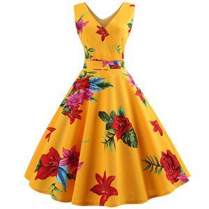Vintage Dresses for Women, Cocktail Party Dress, Vintage Sleeveless Tank Dresses, A-line Cocktail Party Swing Dresses, Floral Print Vintage Dress, V Neck Vintage Day Dress, #N18578