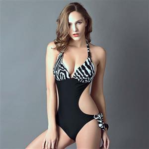 Sexy Zebra Print Monokini, Popular Halter Neck One-piece Swimsuit, Black Cutout Swimsuit, Cheap Swimwear Beachwear Swimsuit, #BK10311