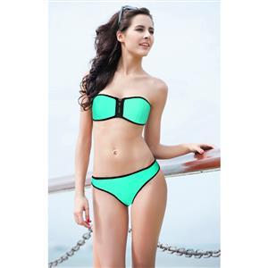 Zipper Bandage Swimsuit, Green Strapless Bikini, Bandeau Bikini Sets, #BK8838