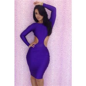 Cut Out Bodycon Dress, backless bodycon dress, Backless Evening Dress, Sexy Clubwear, Long Sleeve Bandage Mini Dress,  #N6423