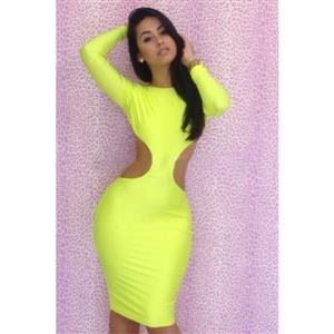 Cut Out Bodycon Dress, Yellow Long Sleeve dress, Yellow Evening Dress, Sexy Cut Out Clubwear, Sexy Neon Yellow Club Dress, #N6424