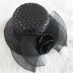 black Sequin Mini Top Hat, Sequin Mini Top Hat, Mini Top Hat, #J7065