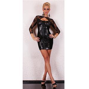 Sexy Mini Club Dress, bodycon bondage costuome dress, Black womens lace PVC leather Dress, #N6196