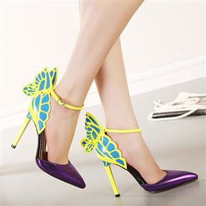 butterfly wings heeled pointed shoes SW20160