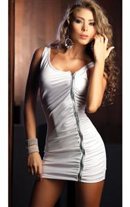 Zipper Mini Dress, Zip Up Dress, Open Back Mini Dress, #C1419