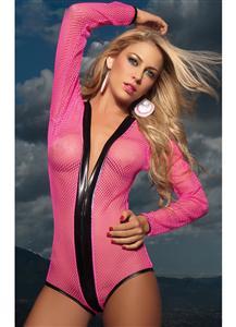Net Long Sleeve Bodysuit, Fishnet Teddy, Long Sleeve Net Teddy, #N1278