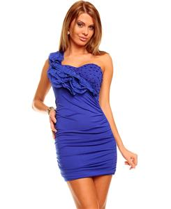 Blue dress, dainty strap dress in blue, blue one shoulder dress, #N5898