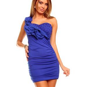 Blue dress, dainty strap dress in blue, blue one shoulder dress, #N5898
