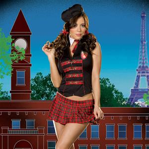 femme fatale academy costume, See Through School Girl Costume, Plaid Schoolgirl Costume, #N4940