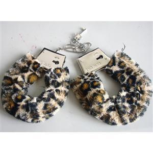 Leopard Fur cuffs, cuffs, Metal Hand Cuffs, #MS2923