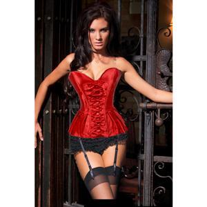 Pleated Skirted Corset, Christmas Corset, red Corset, #N4233