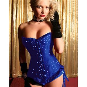 Sexy corset wholesale, blue corset, sparkle corset, #CB1684